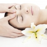 facial massage with flowers